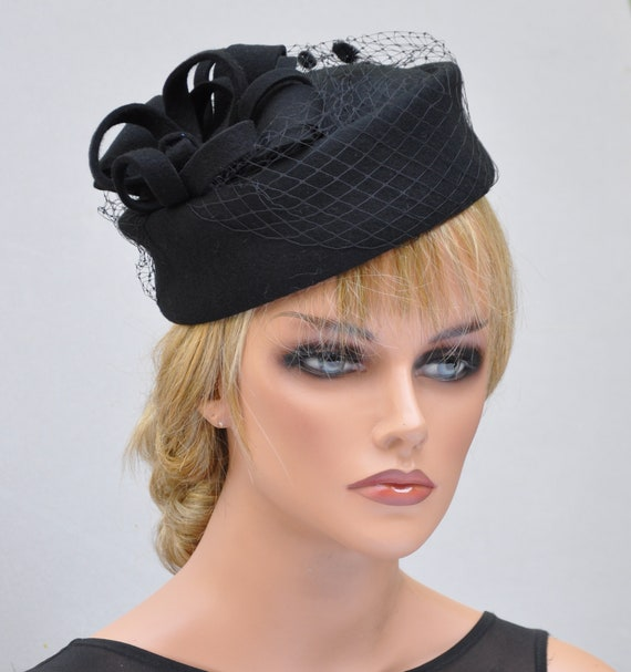 Black Pillbox Hat, Cocktail Hat, Funeral Hat, Ladies Black Felt Hat, Formal Hat, Church Hat, Dressy Hat