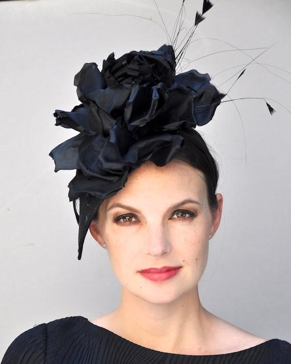 Kentucky Derby Hat, Formal Black Hat, Black Fascinator, Black Headpiece, Derby Fascinator Hat, Ascot Hat, Percher, Formal Hat