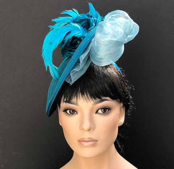 Women's Kentucky Derby Hat, Wedding Hat, Women's Turquoise Blue Saucer Hat, Ladies Saucer Derby Hat, Royal Ascot Hat, Formal Race Hat