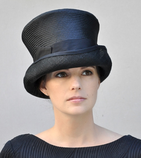 Black Top Hat, Derby Hat, Formal Hat, Kentucky Derby hat, Mad Hatter, Elegant hat, Black Steampunk hat, funeral hat