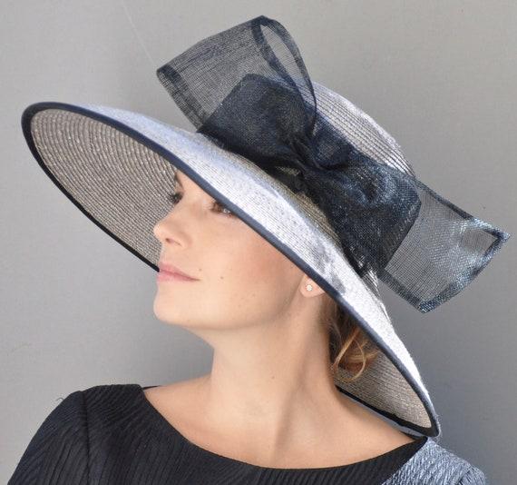 Kentucky Derby Hat, Formal Hat, Wedding hat, Church Hat, Ascot Hat, Ladies Taupe Gray Hat, Wide Brim Hat, Audrey Hepburn Hat