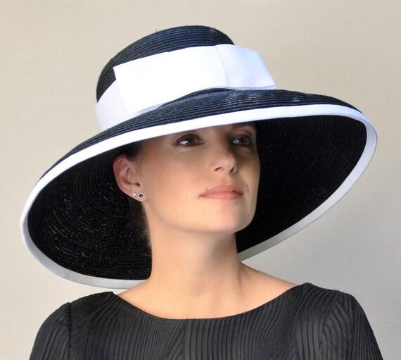 Ladies Black Hat Navy Hat Black & White Hat, Navy and White Hat, Wedding Hat, Church Hat, Wide Brim Hat Audrey Hepburn Hat Formal Dressy Hat