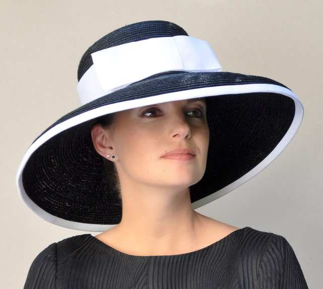 8be2f5bc ... shopping ladies black hat navy hat black white hat navy and white etsy  f2d81 8b948