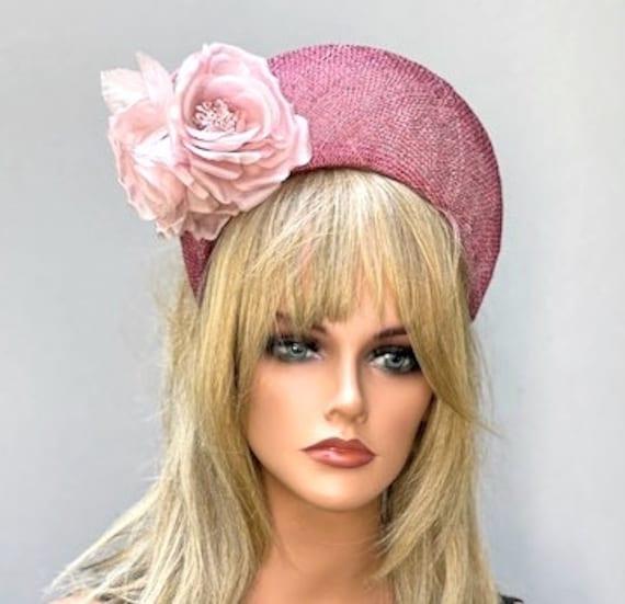 Halo Crown Headpiece, Wedding Fascinator Hat, Royal Ascot Hat, Kate Middleton Hat, Kentucky Derby Hat, Women's Pink Hat, Ladies Formal Hat