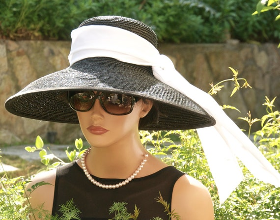 Audrey Hepburn Hat, Breakfast at Tiffany's Hat, Kentucky Derby Hat, Wide Brim Hat, Black & White Hat, Wedding Hat, Formal Hat, Ascot Hat,