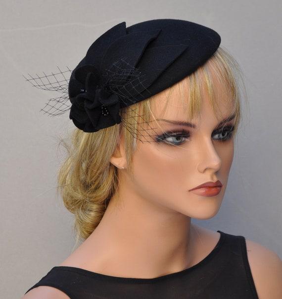 Fascinator Cocktail Hat, Ladies Black Winter Hat, Church Hat, Formal Hat, Pillbox Hat, Funeral Hat, Women's Black Hat