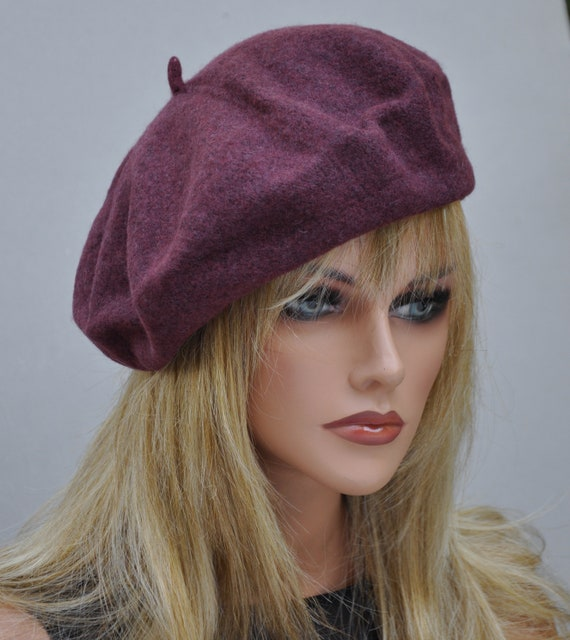 Burgundy Beret, Wine Beret, Winter Hat, Ladies Burgundy Hat, Wool Beret, Boho Hat, French Beret, Sporty Hat
