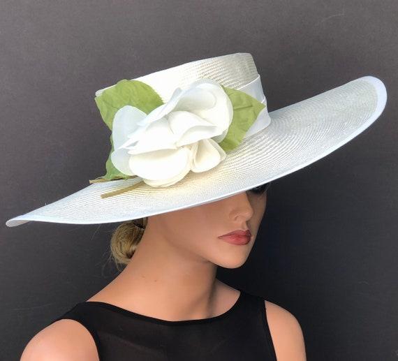Formal Summer Hat, Wedding Hat, Kentucky Derby Hat, Ascot Hat, Women's Formal Hat, Ladies Cream Ivory Hat, Wide Brim Hat