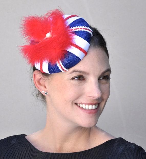 Union Jack Hat, Fascinator Hat, Union Jack Fascinator, Red White & Blue Fascinator Hat, Union Jack Percher