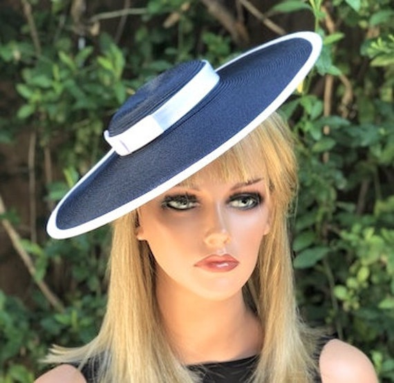 Navy and White Boater Hat, Women's Derby Hat, Ladies Boater Hat, Women's Boater Hat, Wide Brim Hat