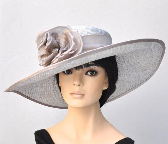 Kentucky Derby Hat, Church Hat, Wedding Hat, Taupe Hat, Royal Ascot Hat, Wide Brim Hat, Elegant Hat