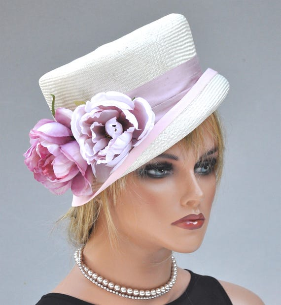 Wedding Hat, Ladies Pink Hat, Formal Hat, Pink and White Hat, Floral Hat
