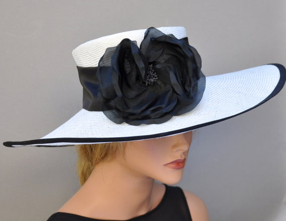Elegant Kentucky Derby Hat, Wedding Hat, Women's Black and White Hat, Ladies Formal Hat, Dressy Hat, Wide Brim Hat, Church Hat