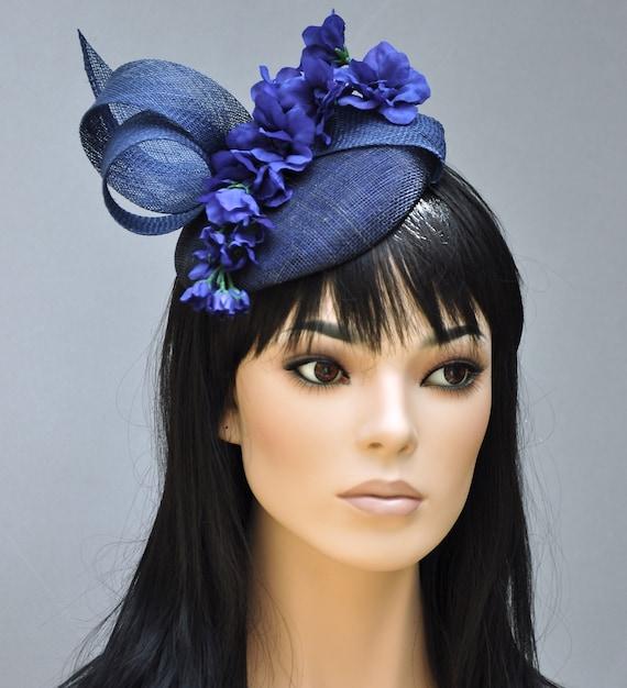 Wedding Hat, Ladies Navy Blue Hat, Blue Fascinator Hat, formal hat, Derby Hat, Women's navy blue hat,