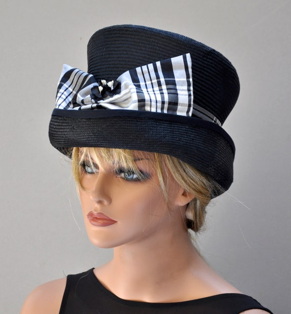 Formal Plaid Hat, Wedding Hat, Black and White Hat, Special Occasion Hat, Top Hat, Kentucky Derby Hat, Ascot Hat,