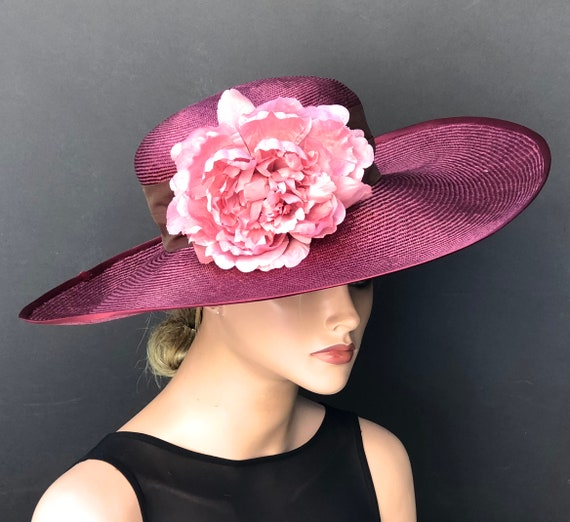Kentucky Derby Hat, Wedding Hat, Women's Derby Hat, Women's Burgundy Hat, Church Hat, Women's Formal Straw Hat, Ladies Dressy Hat
