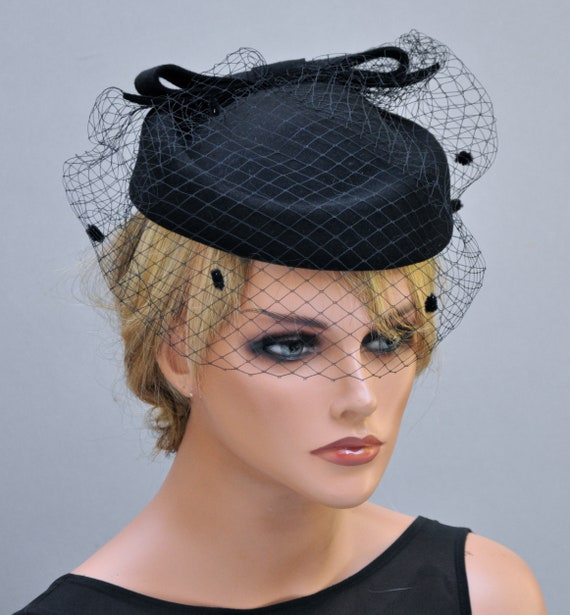 02d7007699fbb Black Fascinator with veil Womens Tea Party Hat Church Hat Derby Hat Fancy  Hat Black Hat .