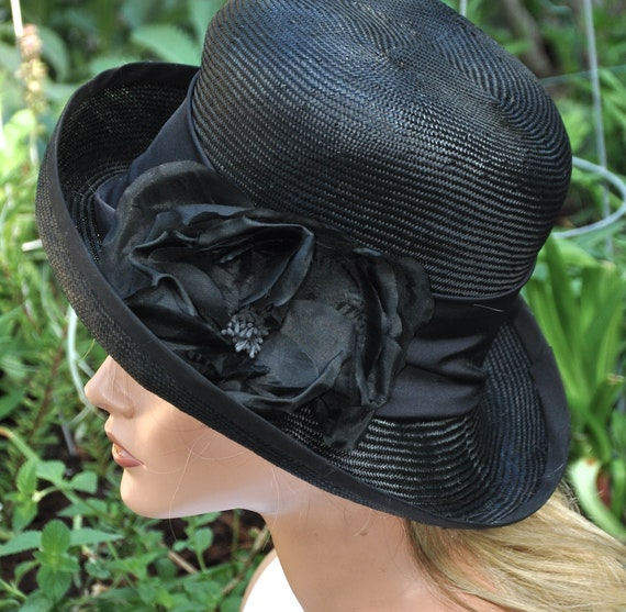Ladies Black Hat, Formal Black Hat, Women's Black Hat, Dressy Hat, Funeral Hat, Elegant Hat, Church Hat, Sophisticated Hat