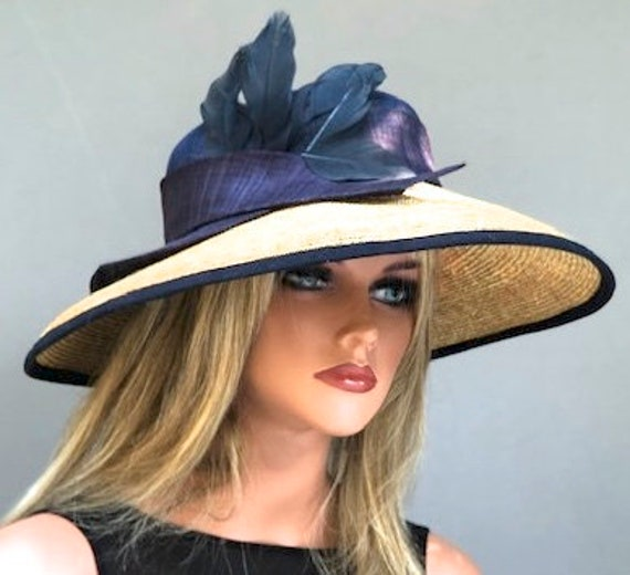 Women's Kentucky Derby Hat, Wedding Hat, Audrey Hepburn Hat, Ladies Formal Navy Hat, Ladies Kentucky Derby Hat, Wide Brim Hat