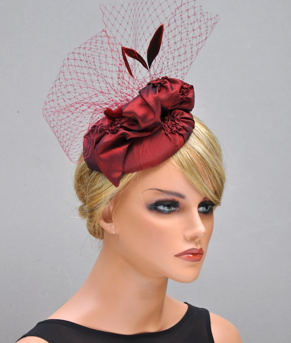 Wedding  Fascinator, Wedding Hat, Red Wine Fascinator, Fascinator Hat, Derby Hat, Percher, Women's Formal Hat, Ladies Dressy Hat,