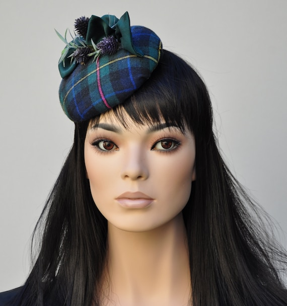 Ladies Winter Hat, Scottish Plaid Fascinator Hat, Ladies Tartan Hat, Women's Scottish Hat, Plaid Fascinator Hat