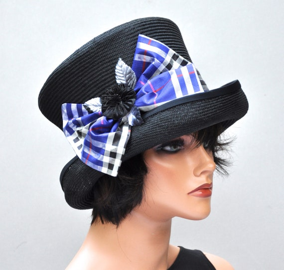 Ladies Black Hat, Formal Black Hat, Blue Plaid Hat, Top Hat, Mad Hatter