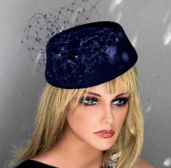 Women's Navy Winter Hat, Ladies Formal Navy Hat, Church Hat, Dressy Hat