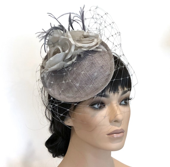 Ladies Gray Fascinator, Women's Gray Fascinator Hat, Wedding Hat, Cocktail Hat with Veil, Pillbox Hat, Formal Hat