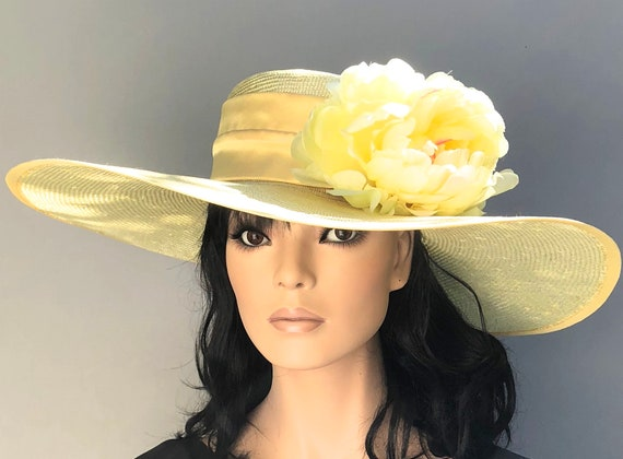 Kentucky Derby Hat, Wedding Hat, Wide Brim Formal Yellow Hat, Women's Kentucky Derby Hat, Ladies Formal Summer Straw Hat