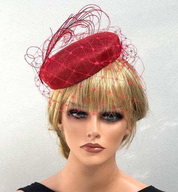 Women's Kentucky Derby Hat, Ladies Red Pillbox Hat, Red Cocktail Hat, Red Hat Society, Women's Fascinator Hat, Formal Red Hat, Wedding Hat