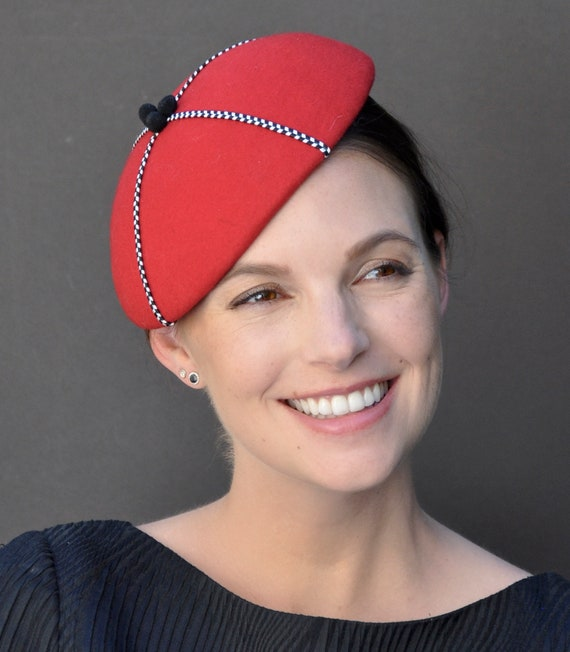 Red Fascinator, Fascinator, Formal Hat, Dressy Hat, Winter Fascinator, Ladies Red Hat