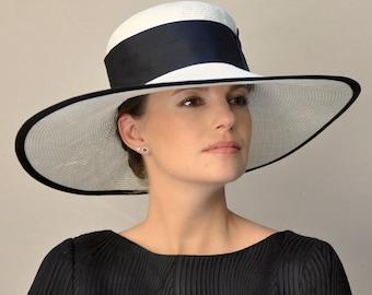Ladies Black & White Hat, Wedding Hat, Kentucky Derby Hat, Royal Ascot Hat, Wide Brim Hat, Formal Hat, Church Hat