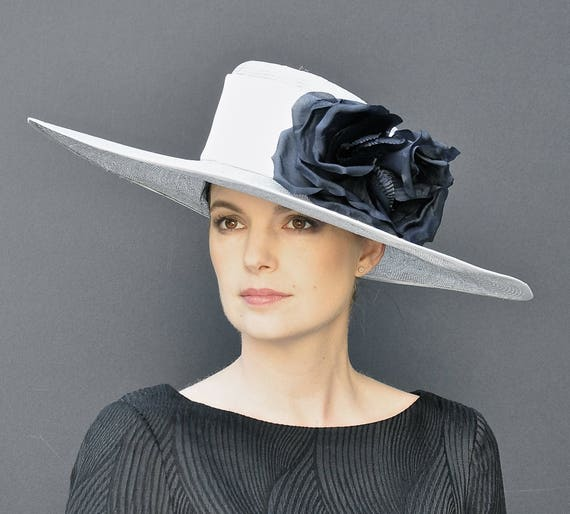 Church Hat, Wide Brim Hat, Formal Hat, Ascot Hat, Ladies Dressy Hat, Big Hat, Gray Hat