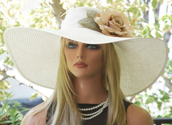 Kentucky Derby Hat, Wedding Hat Women's Derby hat, Wide brim hat, Cream Hat, Formal Straw Hat, Derby Hat, Summer Hat, Garden Party