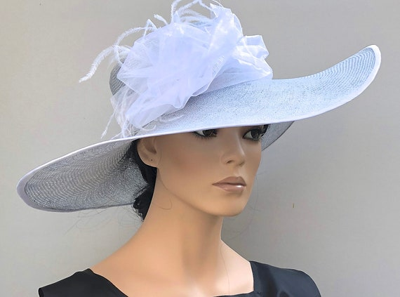 Kentucky Derby Hat Church Hat Wedding Hat Blue formal hat, wide brim hat Ladies Blue Hat