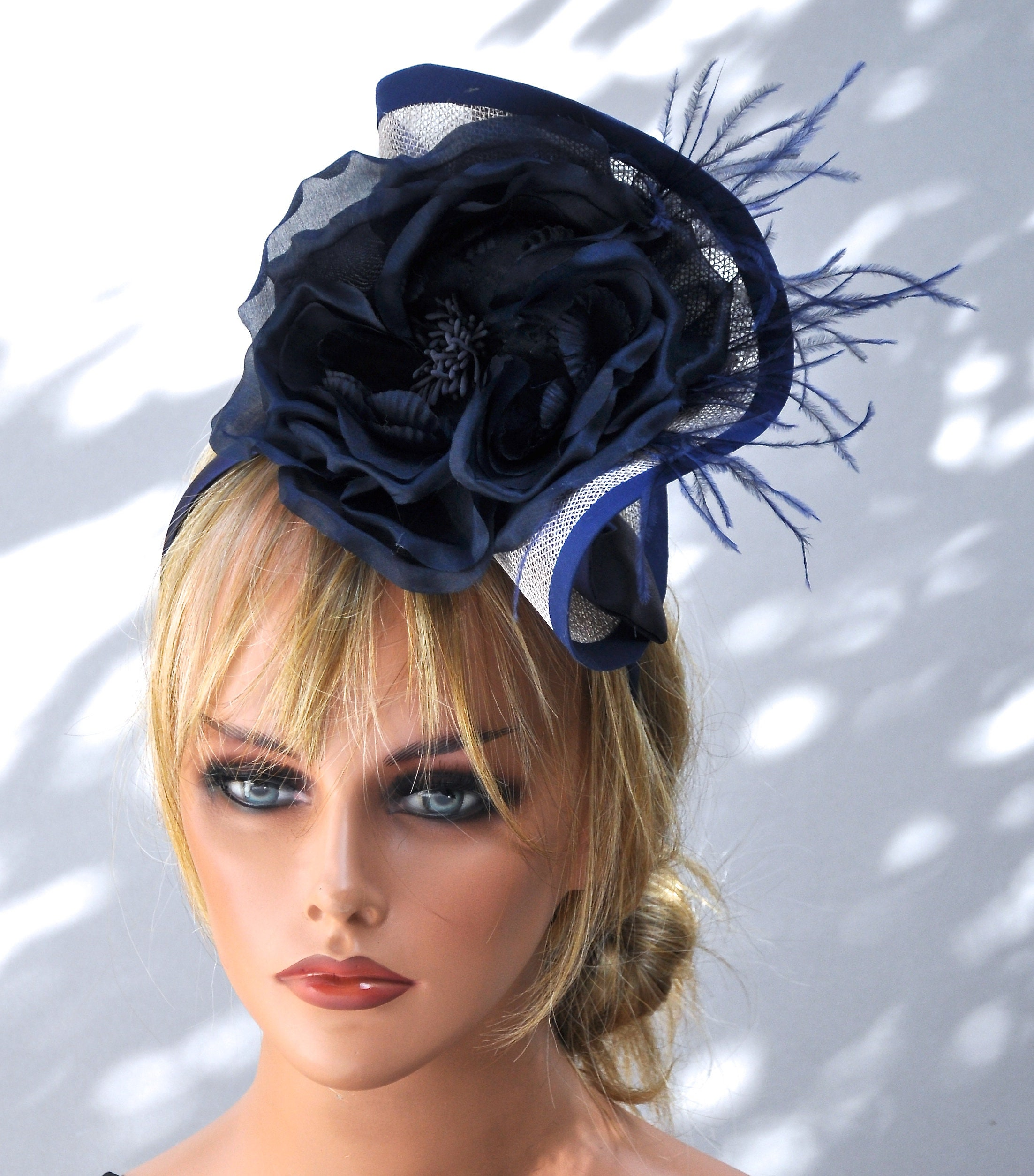 Blue Fascinator on Aliceband Weddings Mother Of The Bride Ladies Day Races Party