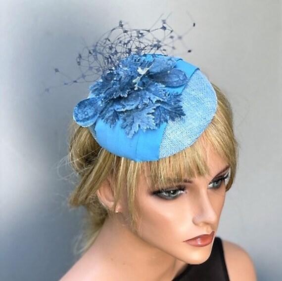 Women's Blue Hat, Wedding Hat, Church Hat, Derby Hat, Women's Fascinator Hat, Formal Hat, Special Occasion Hat