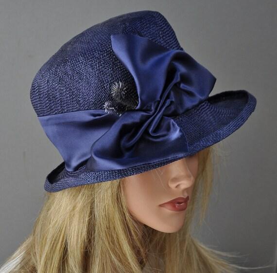 Wedding hat, Ladies Navy Blue Hat, Kentucky Derby hat, Cloche, Formal hat, Women's Navy Hat, Downton Abbey hat