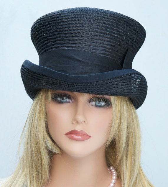 Women's Black Top Hat, Formal Hat, Downton Abbey hat, Derby hat, Mad Hatter, Elegant Black hat, Black Steampunk hat, funeral hat