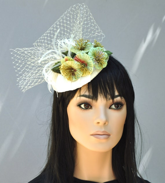 Wedding Hat, Formal Hat, Fascinator Hat, Dressy Hat, Pillbox Hat, Wedding Fascinator, Church Hat, Ascot Hat,