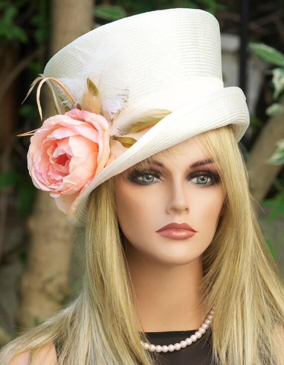 Kentucky Derby Hat, Wedding Hat, Formal Hat. Derby Hat, Ascot Hat, Occasion Hat, Cream Ivory Hat, Mad Hatter