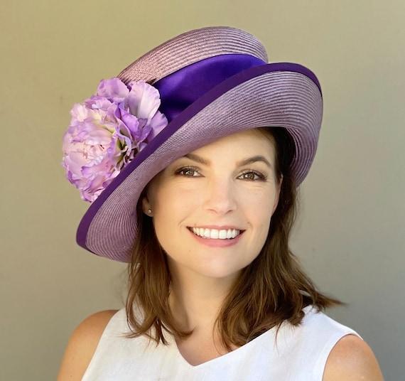 Women's Top Hat, Ladies Derby Hat, Wedding Hat, Purple Mad Hatter, Ascot hat, Ladies Formal Hat
