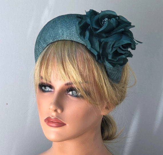Ladies Teal Hat, Headband Hat, Kate Middleton Hat, Duchess Hat, Royal Hat, Woman's Formal Hat, Formal Winter Hat,
