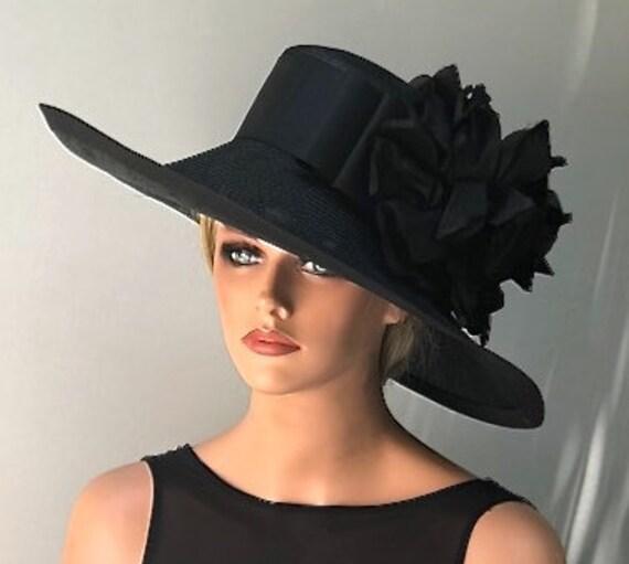 Kentucky Derby Hat, Wedding Hat, Women's Black Hat, Formal Hat, Dressy Hat, Elegant Hat,  Occasion Hat