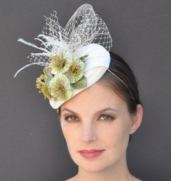Wedding Hat, Formal Hat, Fascinator Hat, Dressy Hat, Pillbox Hat, Wedding Fascinator, Church Hat