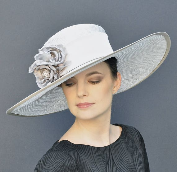 Wedding Hat, Dressy Hat, Women's Derby Hat, Royal Ascot Hat, Wide Brim Hat, Formal Hat, Ladies Gray Hat, Elegant Hat, Occasion Hat