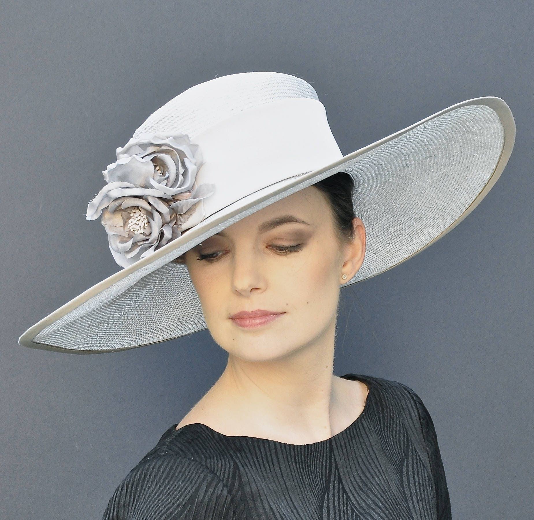Kentucky Derby Hat Wedding Hat Dressy Hat Wide Brim Hat  706b90a862d