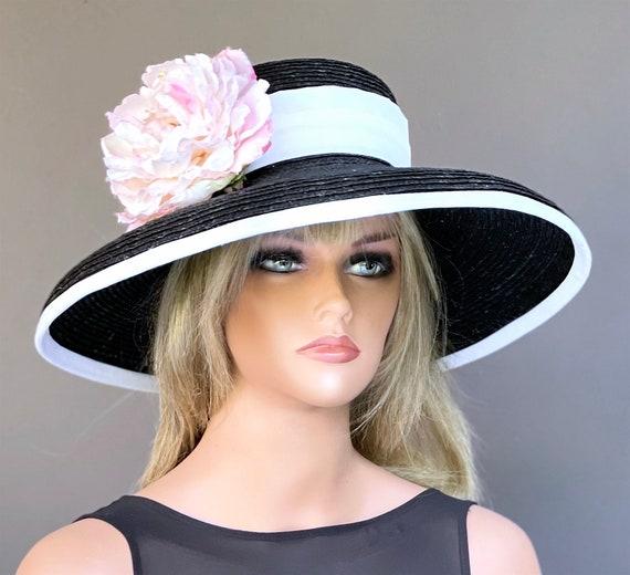 Kentucky Derby Hat, Wedding Hat, Church Hat, Wide Brim Hat, Special Occasion Hat, Black white pink hat, Audrey Hepburn Hat