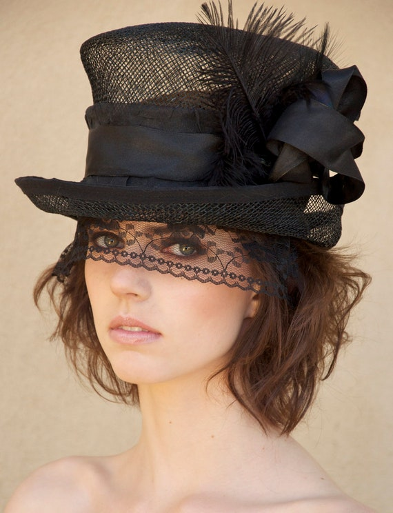 Black Straw Top Hat, Kentucky Derby Hat, Mad Hatter