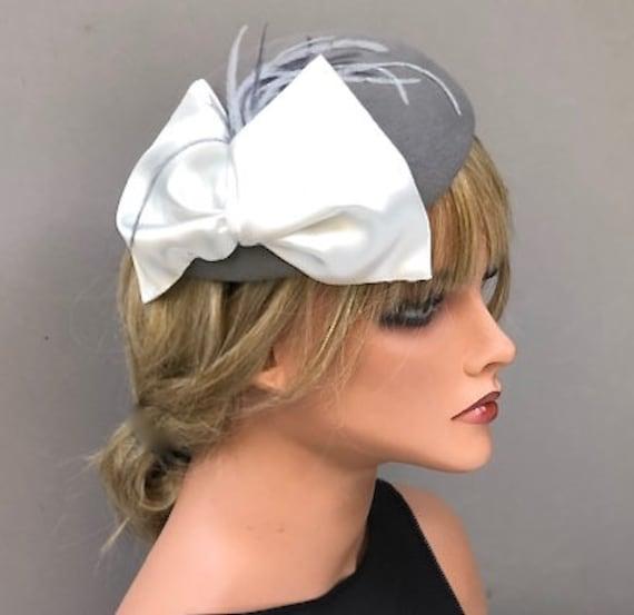 Women's Gray Felt Fascinator Hat, Kate Middleton Hat, Wedding Fascinator, Pillbox Hat, Cocktail  Hat, Ladies Gray Formal Winter Fascinator